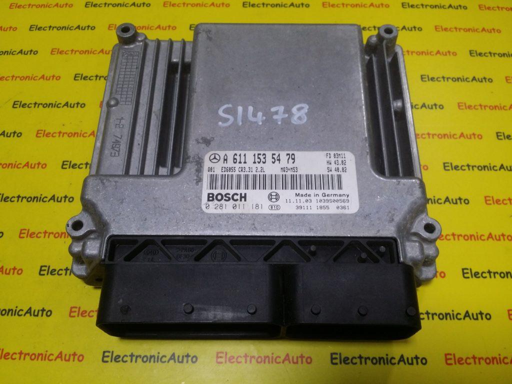 ECU Calculator Motor Mercedes, A6111535479, 0281011181, CR3.31