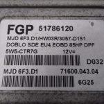 ECU Calculator Motor Fiat Doblo 1.3JTD, 51786120, MJD6F3D1, 7160004304